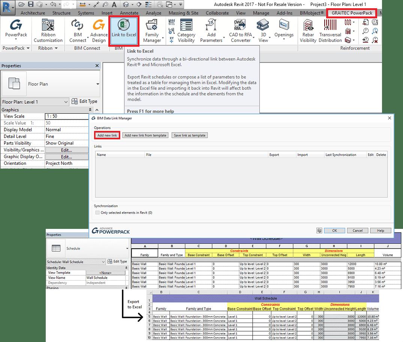 GRAITEC PowerPack pentru Autodesk® Revit | Legătură cu Excel