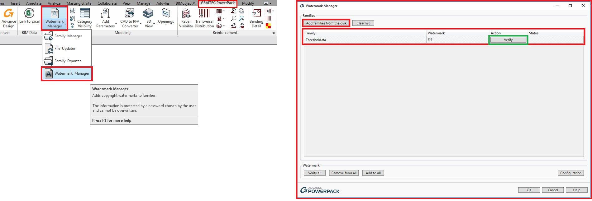 GRAITEC PowerPack pentru Autodesk® Revit | Watermark Manager
