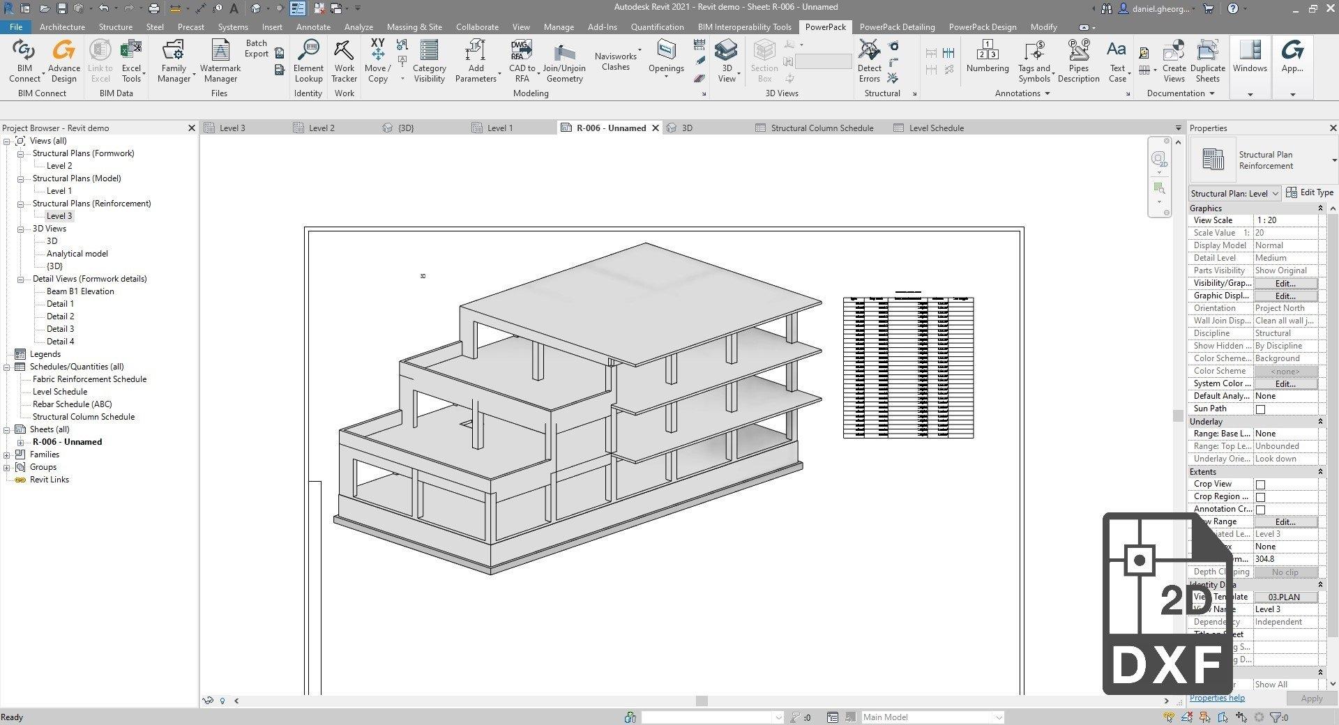 Powerpack Revit - Foaie Excel în DXF